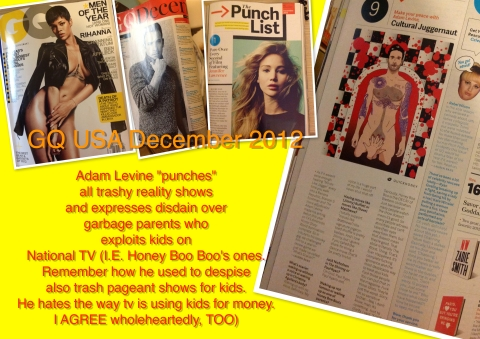 GQ USA 2012 Collage Adam levine punches trash reality TV and Honey Boo Boo parents