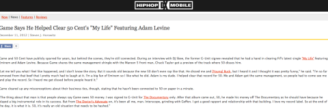 The Game loves Adam Levine ;)