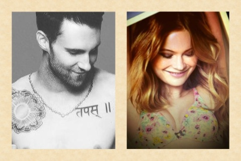 The two lovebirds pose alike - Adam and Behati