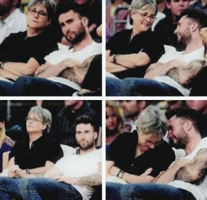 Adam Levine and mum Patsy at Lakers old games