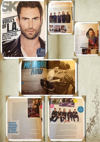 Adam Levine covers Sky Delta Magazine Feb 2013