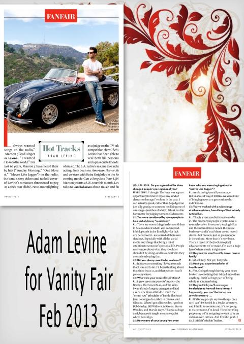 Adam Levine for Vanity Fair Feb 2013