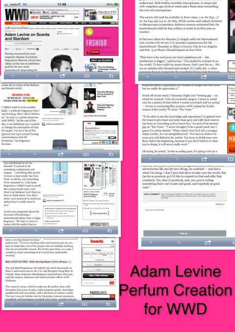 Adam Levine fragrances - WWD magazine