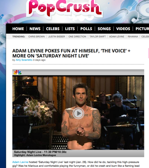 Adam Levine Pokes Fun at Himself on SNL _Popcrush