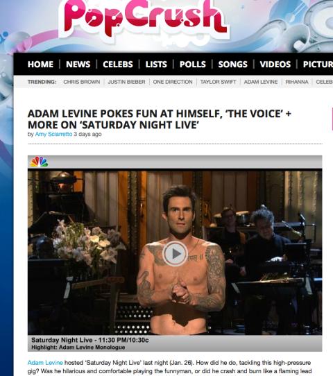 Adam Levine Pokes Fun at Himself on SNL _Popcrush