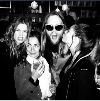 Behati with Ali and Savannah and James at MSG gig prenight party Feb 2013