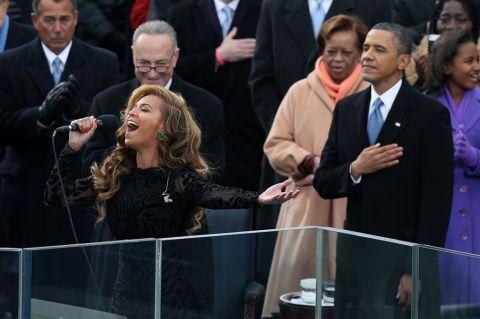 Beyonce' fakes on Obama's Inaugural