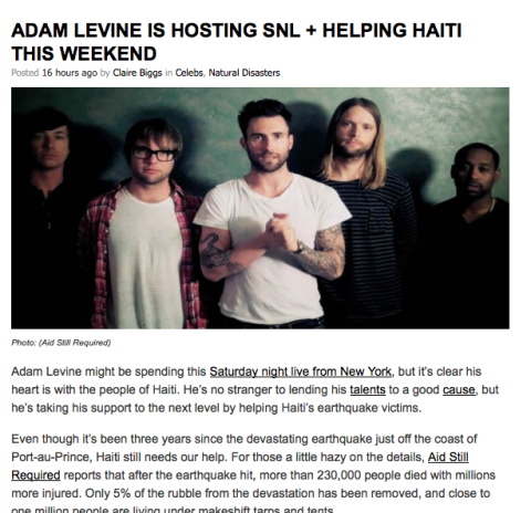 MTV Act Blog – Adam Levine Is Hosting SNL + Helping Haiti This Weekend
