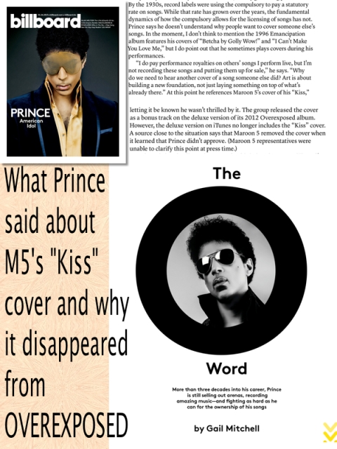 Prince and Maroon 5 KISS cover quarrel