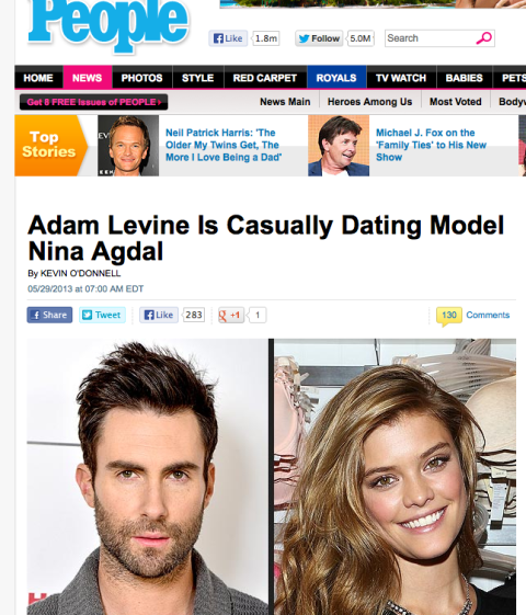 Adam Levine, Nina Agdal Are Casually Dating . People.com at 14.25.26