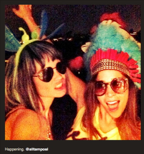 "this was titled ""Friendship lasts forever""... ;) But so does true love fortunately! Ali and Bee at Coachella 2013"