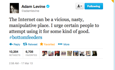 "Adam Levine won't be a media puppet showin his life to gain ""public"". LIVE WITH IT."