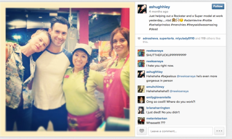 Adam and Behati in LA with fans on August 17