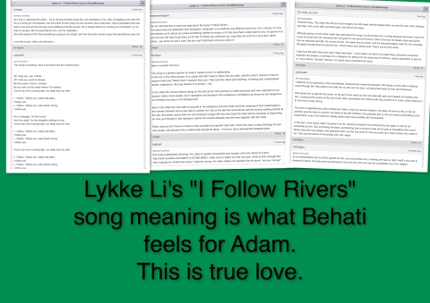 I Follow Rivers and the love of Behati for Adam